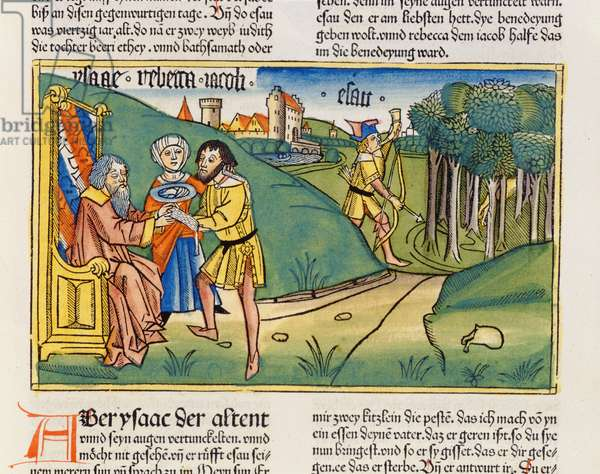 Genesis 27 6-29 Jacob gets Isaac's blessing, from the 'Nuremberg Bible (Biblia Sacra Germanaica)' (coloured woodcut)