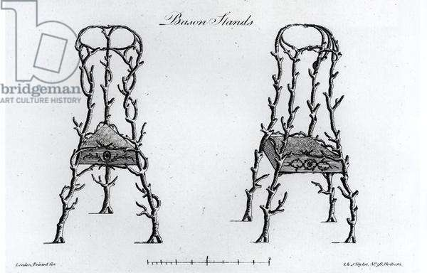 Bason Stands, from 'Grotesque Architecture, or Rural Amusement', by William Wright, 1768 (engraving) (b/w photo)