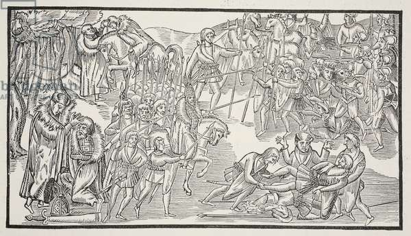 An Irish Chief's Last Fight, 1581 (woodcut) (sepia photo)