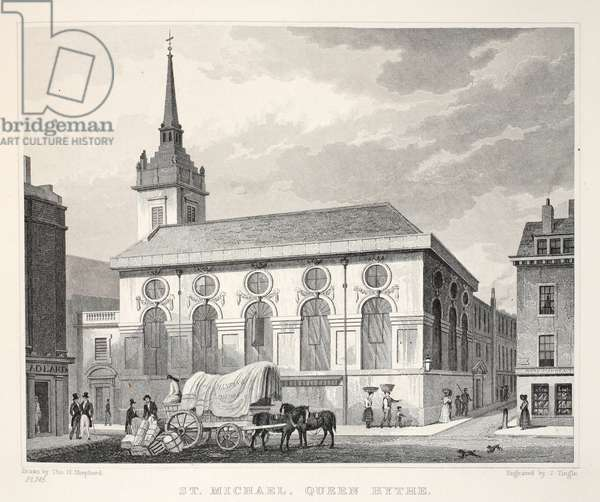 Church of St Michael, Queenhithe, from 'London and it's Environs in the Nineteenth Century' pub. Jones & Co., 1827-1829 (engraving)