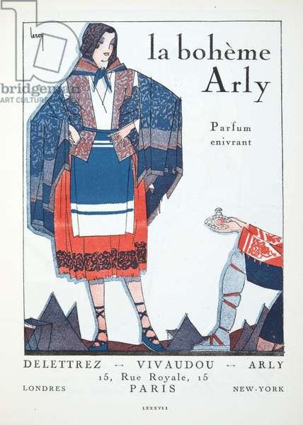 """Advertisement for """"La Boheme d'Arly -  Parfum enivrant"""", from Gazette de Bon Ton, pub.  1920 (pochoir print)"""