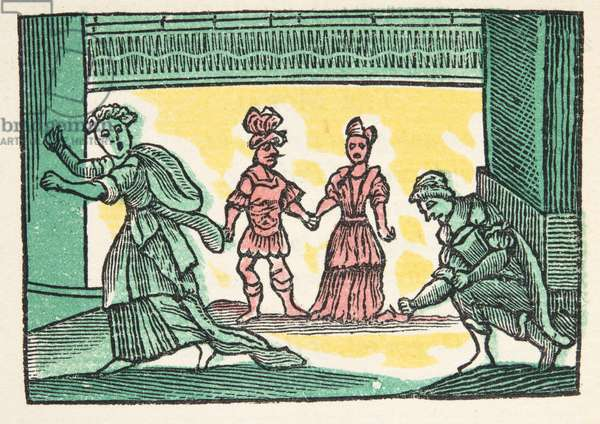 Cinderilla or the little Glass Slipper, from 'Histories or Tales of Past Times told by Mother Goose, With Morals', by M Perrault, pub. 1925 (hand coloured woodblock print)
