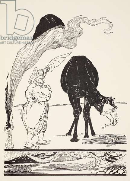 The Djinn in charge of All Deserts guiding the Magic with his magic fan, illustration from 'Just So Stories for Little Children' by Rudyard Kipling, pub. London, 1951 (litho)