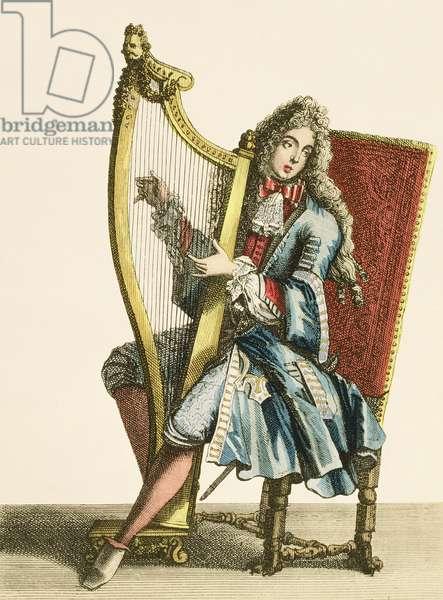 A gentleman playing the harp (engraving)