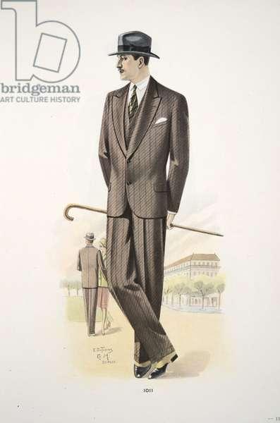 Gentleman's Suit, illlustration from Mode Officielle, pub. 1928 (colour litho)