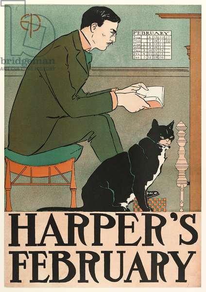 Poster advertising Harper's New Monthly Magazine, February 1898 (colour litho)