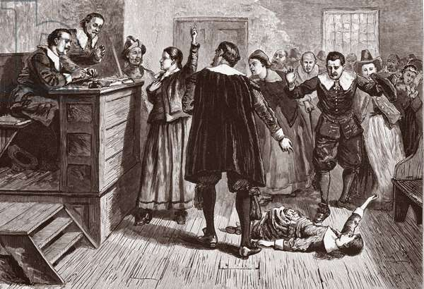 Witchcraft at Salem Village; from Pioneers in the settlement of America: from Florida in 1510 to California in 1849; William A Crafts;  pub. 1876 (engraving)