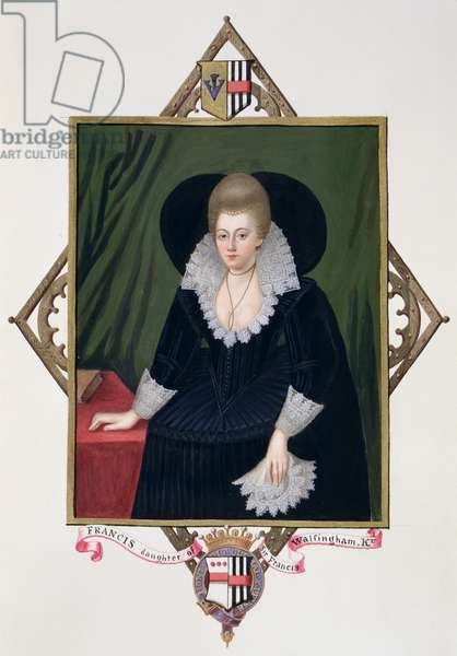 Portrait of Frances Walsingham, Countess of Essex from 'Memoirs of the Court of Queen Elizabeth' after a portrait by Wiliam Segar (fl.1585-d.1633), published in 1825 (w/c and gouache on paper)