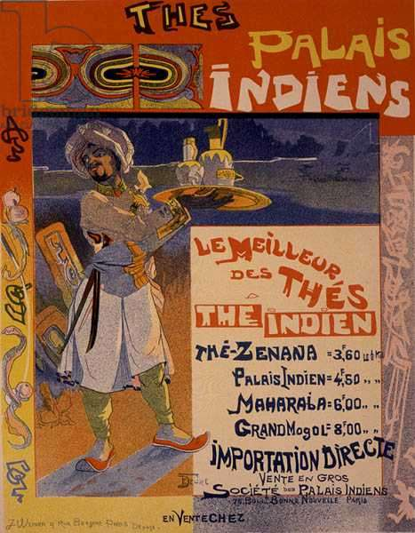 Reproduction of a poster advertising 'Teas from the Indian Palaces' for a tea store in Paris, France, c.1890 (colour litho)