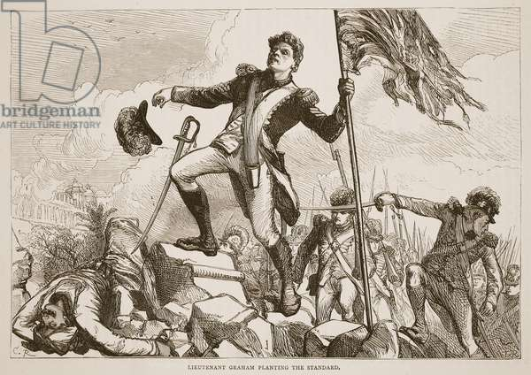 Lieutenant Graham planting the standard, illustration from 'Cassell's Illustrated History of India' by James Grant, pub. 1879 (litho)