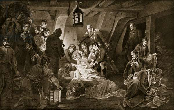 The Death of Nelson, 1805, illustration from 'Hutchinson's Story of the British Nation', c.1923 (litho)