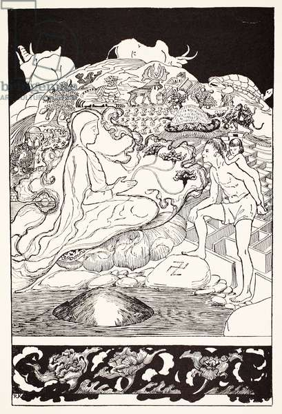 Pau Amma the Crab running away while the Eldest Magician was talking to the Man and his Little Girl Daughter, illustration from 'Just So Stories for Little Children' by Rudyard Kipling, pub. London, 1951 (litho)