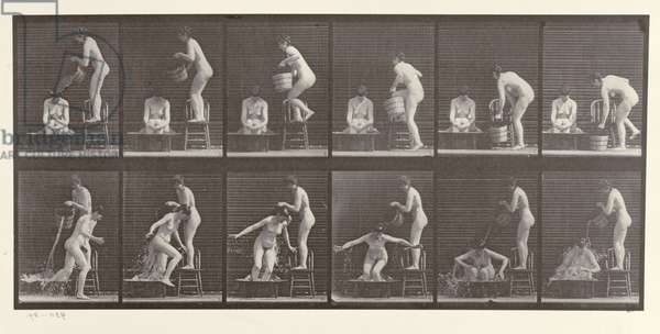 Two Women Bathing, plate 406 from 'Animal Locomotion', 1887 (b/w photo)