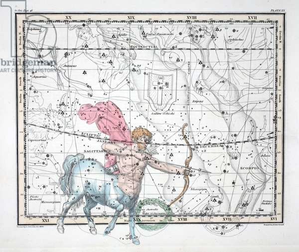 The Constellations (Plate XX) Sagittarius, from 'A Celestial Atlas' by Alexander Jamieson, pub. London 1822 (hand coloured engraving)