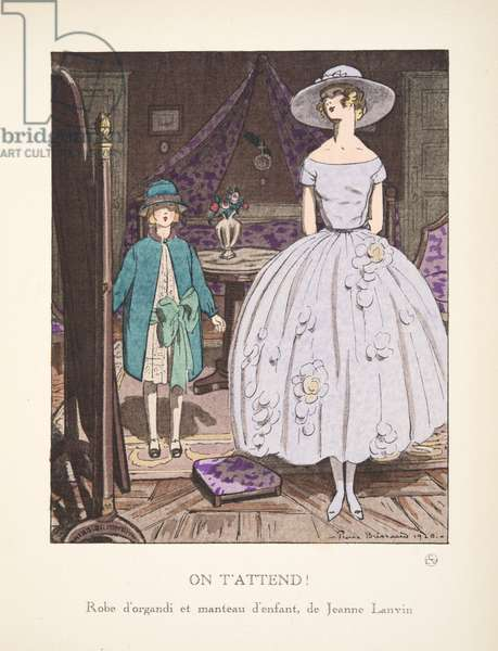 On T'Attend!, from a Collection of Fashion Plates, 1920 (pochoir print)