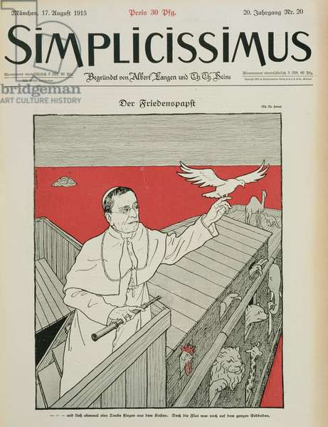 The Peaceful Pope, front cover of a German magazine, 'Simplicissimus', pub. 1915 (litho)