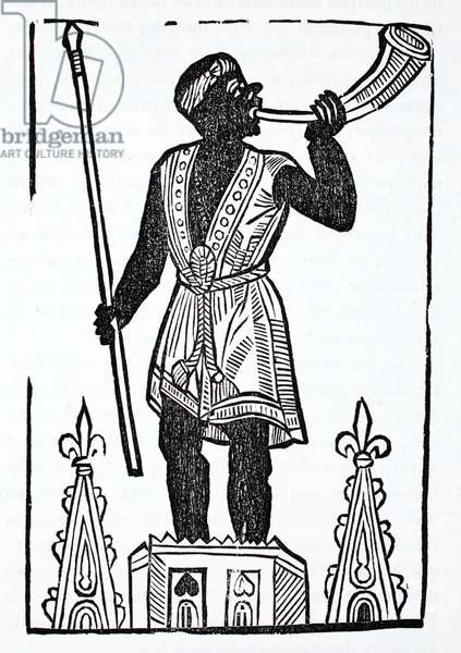 A Moor standing on a tower blowing a horn to wake the dead and gather them in the valley of Josaphat (litho)