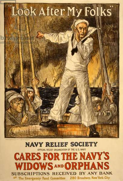 Fundraising campaign for the Navy Relief Society, pub. 1917 (colour litho)