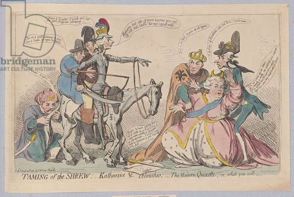 Taming of the Shrew:  Katherine & Petruchio; The Modern Quixotte, or what you will, pub. 1791 (hand coloured engraving)