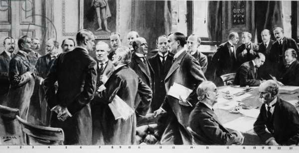 The Coalition Cabinet for the Great War: the 'Illustrated London News' remarkable picture (in miniature), from 'The Illustrated War News' (litho)