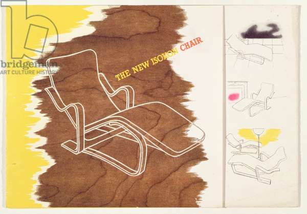 Page from a leaflet about the new Isokon Long Chair (colour litho) (see also 203639)