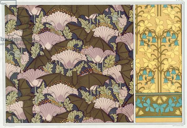 Designs for a wall hanging with Bats and Poppies, and wallpaper  with  Butterflies and Bluebells,   from 'L'Animal dans la Decoration' by Maurice Pillard Verneuil,  pub. 1897 (colour lithograph)