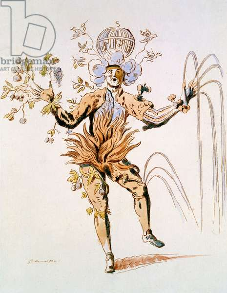 Costume Design for the four elements in a 17th century courtly ballet, facsimile made by Guillaumot fils (hand-coloured engraving)