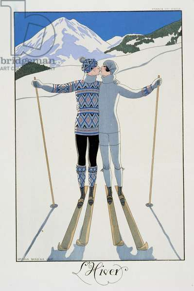 Winter: Lovers in the Snow, fashion plate from 'Twentieth Century France', 1925 (colour litho)