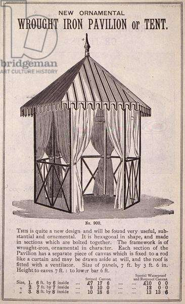 New Ornamental Wrought Iron Pavilion or Tent, from the 'New Illustrated Catalogue of Garden Implements, Garden Furniture and Requisites', published by Wrinch & Sons, 1893 (engraving)