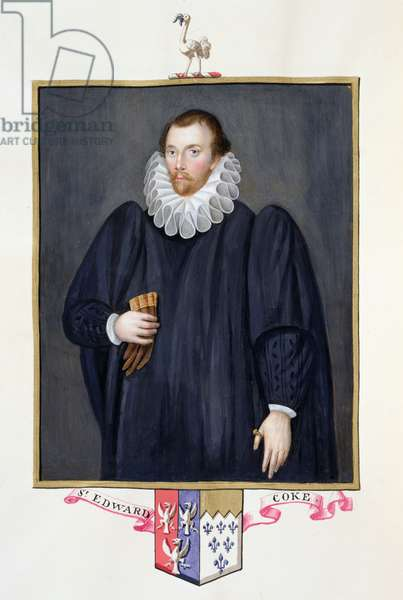 Portrait of Edward Coke (1552-1634) from 'Memoirs of the Court of Queen Elizabeth', published in 1825 (w/c and gouache on paper)