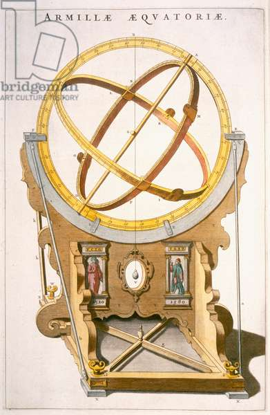 An Orrery designed by Tycho Brahe (1546-1601) from the 'Atlas Major' c.1630 (coloured engraving)