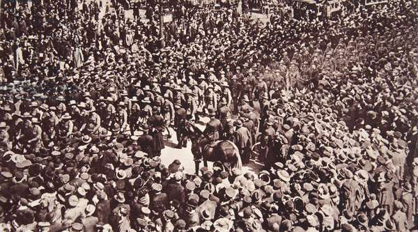 Comrades of the Heroes who died in Gallipoli: 'Anzacs' in London marching to Westminster on 'Anzac' Day, from 'The Illustrated War News' (sepia photo)