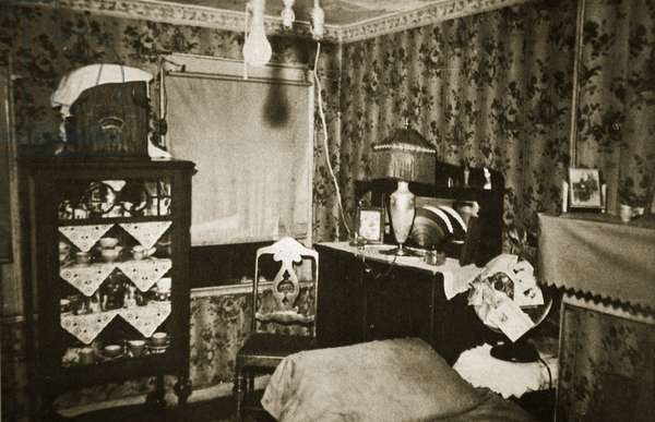 Room within a New York tenement Block (sepia photo)