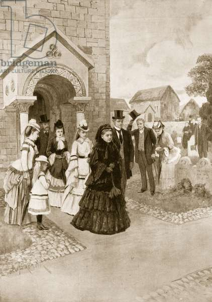 Queen Victoria's Life at Osborne: Her Majesty At Whippingham Church, from 'The Illustrated London News', 1901 (litho)