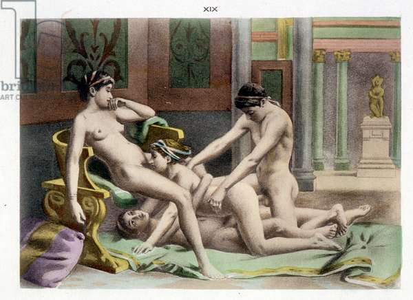 Ancient Times, illustration of an orgy, plate 19 of 'De Figuris Veneris' ('Venerable Figures') written by F.K. Forberg, 1900 (hand-coloured litho)