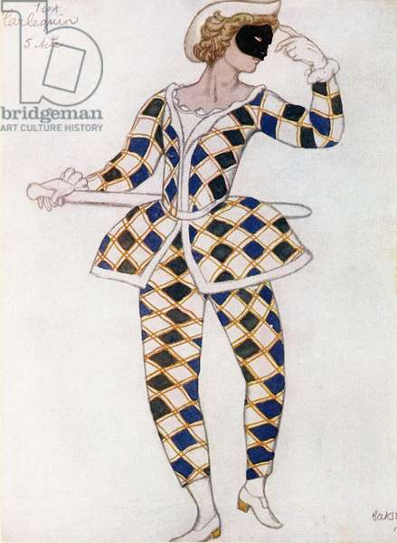 Costume design for Harlequin, from Sleeping Beauty, 1921 (colour litho)