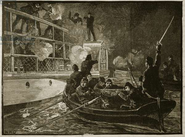 The capture of the 'Caroline', 1837, illustration from 'Cassell's Illustrated History of England' (engraving) (sepia photo)