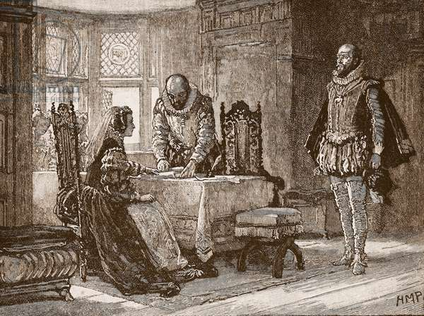 Mary signing the deed of abdication in Lochleven Castle, illustration from 'Cassell's Illustrated History of England' (engraving) (sepia photo)