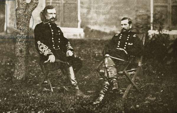 General George A. Custer and General Alfred Pleasonton, 1861-65 (b/w photo)