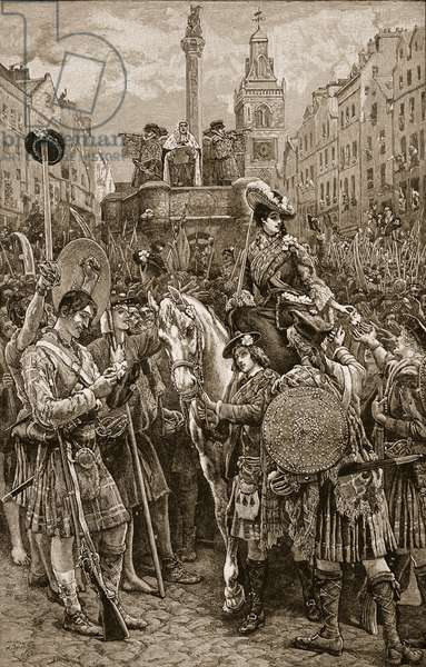 Proclamation of the Old Pretender as James VIII at the Edinburgh Cross, 1745, illustration from 'Cassell's Illustrated History of England' (engraving) (sepia photo)