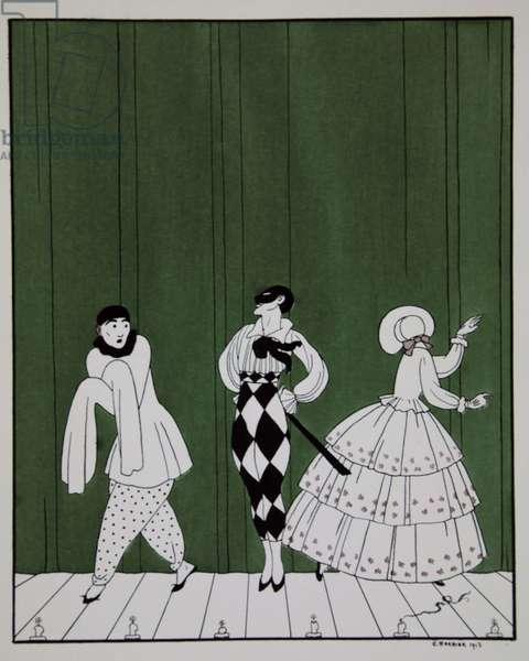 Carnaval, from the series 'Designs on the dances of Vaslav Nijinsky' (1889-1950). Georges Barbier (1882-1932), Pochoir Print
