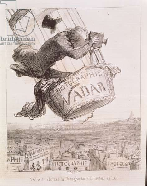Nadar (1820-1910) elevating Photography to the height of Art, published 1862 (litho)