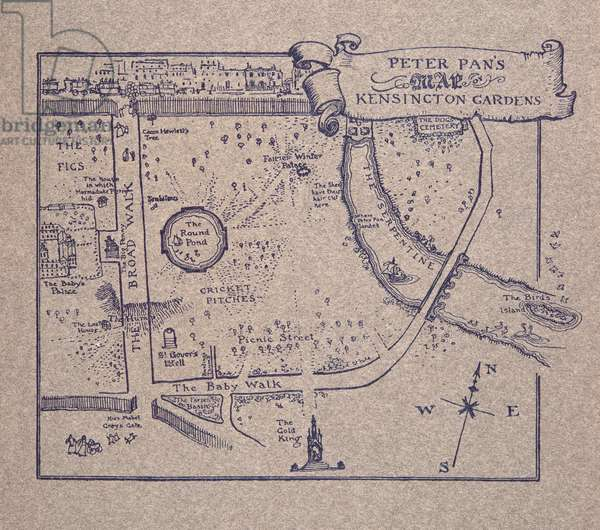 Peter Pan's Map of Kensington Gardens, from Peter Pan in Kensington Gardens by J M Barrie (1860 - 1937), pub. 1906 (colour litho)