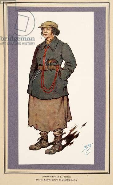 Female Secret Agent from Histoire des Soviets, pub. 1922 (colour litho)