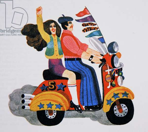 Revival of Mods, from 'Carnaby Street' by Tom Salter, 1970 (colour litho)