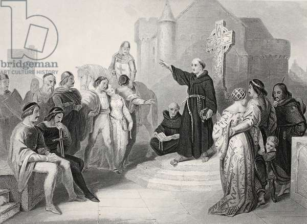 Preaching the Crusade, engraved by A.H. Payne (litho)