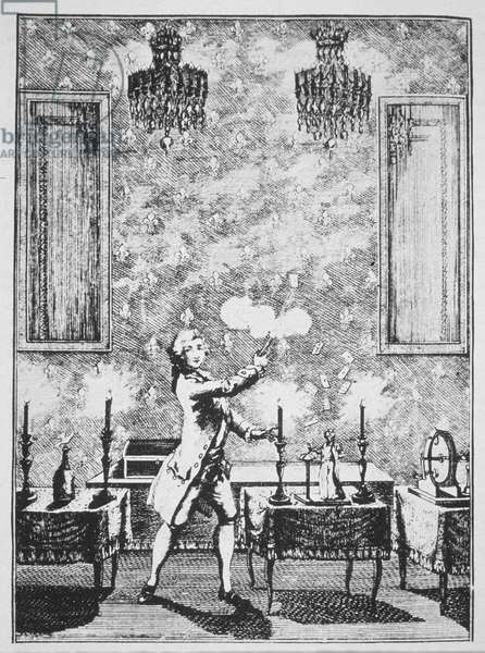 A Demonstration of Conjuring from 'La magie Blanche devoilee' by Decremps, 1659, illustrated in a 'History of Magic', published late 19th century (litho)