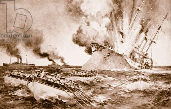 Destruction of the Dresden off Fernandez on March 14th 1915, 1914-19 (litho)