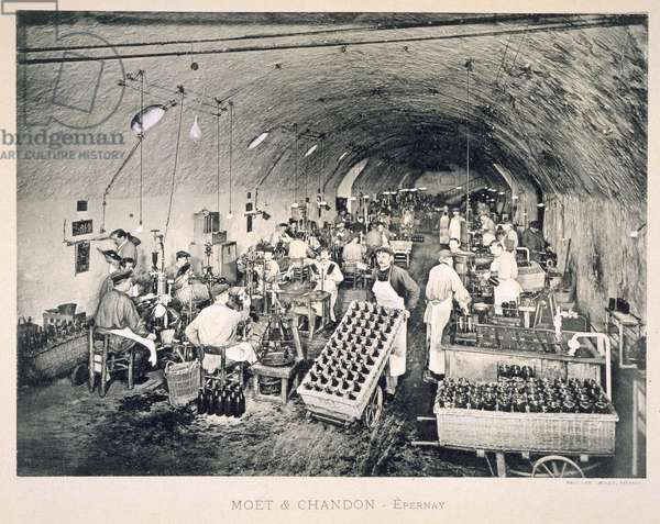 Sealing the bottled champagne, from 'Le France Vinicole', pub. by Moet & Chandon, Epernay (photolitho)
