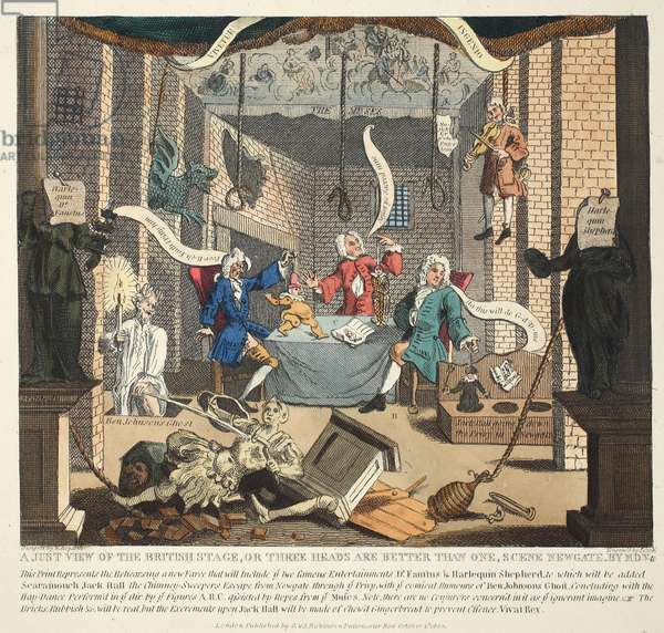 A Just View of the British Stage or Three Heads are Better than One, 1724, illustration from 'Hogarth Restored: The Whole Works of the celebrated William Hogarth, re-engraved by Thomas Cook', pub. 1812 (hand-coloured engraving)